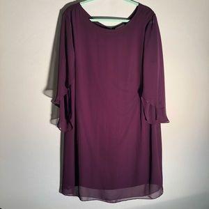 Dress Barn Purple Chiffon With Cape Sleeves KK10